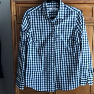 Vineyard vines navy/white check blouse